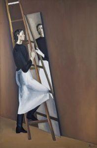 Femme à l'échelle et au miroir