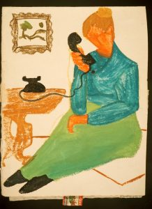 Christmas Greeting Card - Woman on Phone