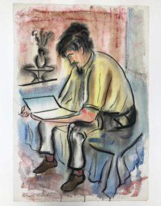 Stamos Reading in his Studio